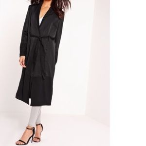 Missguided Black Satin and Chiffon Maxi Duster